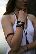 PRIA bracelet - lava, rudraksha and silver.