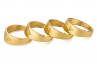 Element Ring - stříbrný, pozlacený designový prsten, mat
