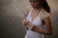 TARITATU mala - aquamarine, crystal, freshwater pearl, rudraksha and silver.