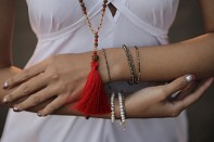 PURA mala - coral stone, smoky quartz, rudraksha and gold plated silver.