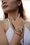 PURA bracelet - coral stone, smoky quartz, rudraksha and gold plated silver.