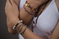 PAPUA PÉTIT bracelet - pyrite, dendritic agate and gold plated silver.