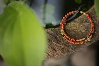 SHINTA - červený korál, oranžový korál, olivín, achát, morganit, rudraksha a pozlacené stříbro