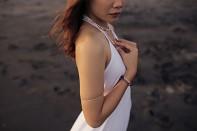 SINGARAJA bracelet - rose quartz and silver.