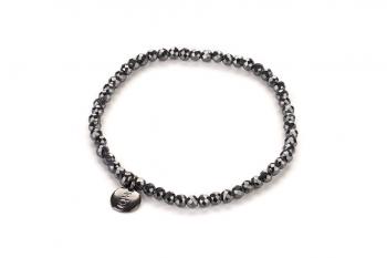 LUNA - náramek s hematitem a černě rhodiovaným stříbrem zasvěcený touze po LÁSCE
