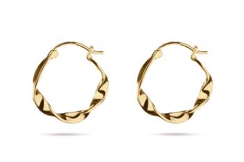 Pretty Big Crush Hoops - gold plated silver earrings, glossy