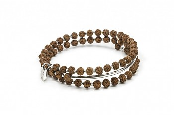 PRANA - Silver bracelet, small, silver tube, Rudraksha seed