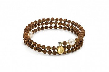 PRANA - Gold plated bracelet, small, freshwater pearl, Rudraksha seed