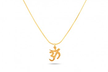OM - Gold plated chainlet 48 cm, ohm symbol