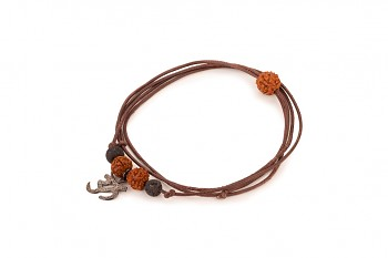 VIRA - Kožený náhrdelník/náramek, stříbrný óm, černá patina, láva, semeno Rudraksha