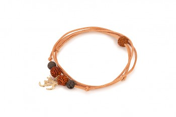 VIRA - Kožený náhrdelník/náramek, pozlacený óm, láva, semeno Rudraksha