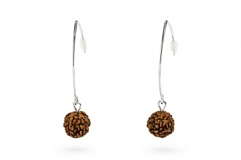 SHIVA - Silver earrings, Rudraksha seed