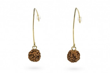 SHIVA - Silver earrings, gold plated, Rudraksha seed