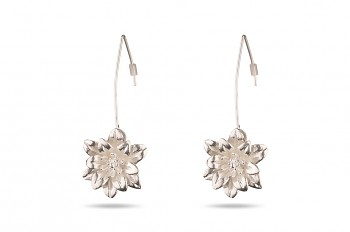 MANI PADMA - Silver earrings, large, lotus