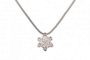 MANI PADMA - silver necklace with small lotus, chain 42 cm