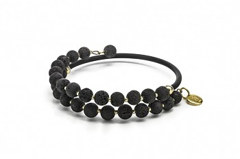 EOS - bracelet, with rubber tube, lava and gold plated silver