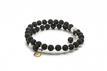 METYS - bracelet with freshwater pearl, lava and gold plated silver