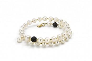 LÉTÓ - náramek s lávou, říční perlou a pozlaceným stříbrem