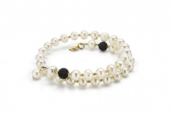 LETO - bracelet with lava, freshwater pearl and gold plated silver