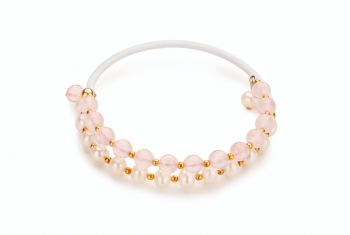 INO - bracele with rubber tube, rose quartz, freshwater pearl and gold plated silver