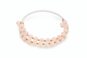 INO - Gold plated bracelet, big, rubber tube, rose quartz, freshwater peral