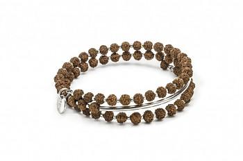 PRANA - náramek s říční perlou, semenem Rudraksha a stříbrnou trubičkou