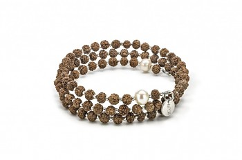 PRANA - Stříbrný náramek velký, říční perla, semeno Rudraksha