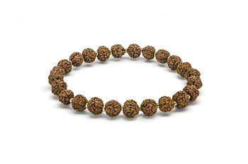 BIDJA - bracelet with gold plated rocailles and Rudraksha seed