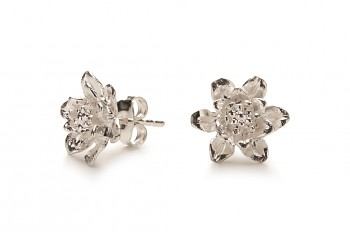 MANI PADMA - Silver earrings, lotus