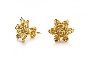 MANI PADMA - Gold plated earrings, lotus
