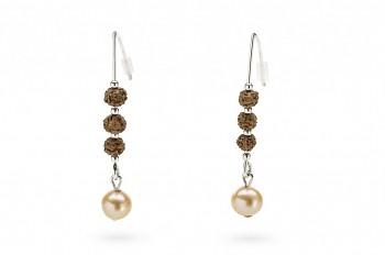 BHOGA - Stříbrné náušnice, semeno Rudraksha, říční perla