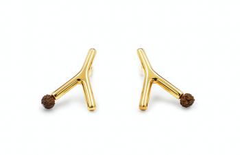WAI Rudraksha Earrings - Stříbrné náušnice, pozlacené, semeno Rudraksha