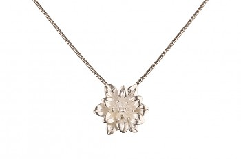 MANI PADMA - silver necklace with large lotus, chain 42 cm
