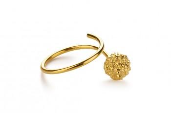 KAMA - Silver ring, gold plated, Rudraksha