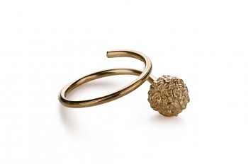 KAMA - Silver ring, rose gold plated, Rudraksha