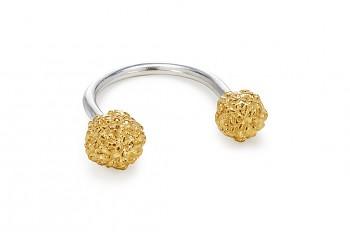 ÁSA - Stříbrný prsten, pozlacená Rudraksha