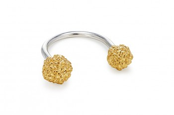 ASA - Silver ring, gold plated Rudraksha