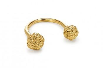 ASA - Silver ring, gold plates, Rudraksha
