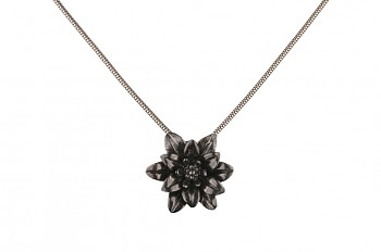 MANI PADMA - silver necklace with large lotus, black rhodium plated, chain 42 cm