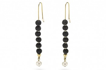 HESTIA - Gold plated earrings, freshwater pearl, lava stone