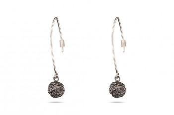ABHARANA - Silver earrings, black rhodium, Rudraksha