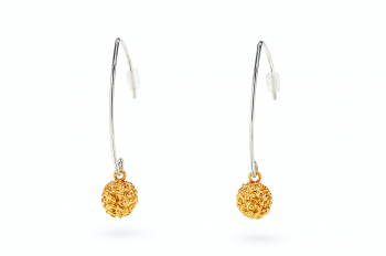 ABHARANA - Silver earrings, gold plated Rudraksha
