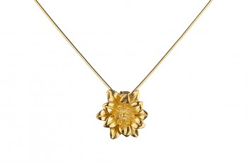 MANI PADMA - silver necklace with large lotus, gold plated, chain 42 cm