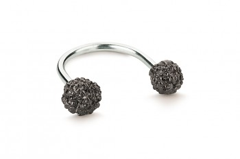 ÁSA - Stříbrný prsten, Rudraksha, černá patina