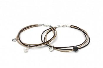 MAITRA I - Kožený náramek, říční perla