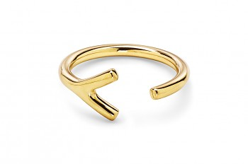 WAI RING Y - Silver ring, gold plated, glossy