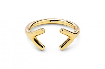 WAI Ring YY - Gold plated silver ring, glossy