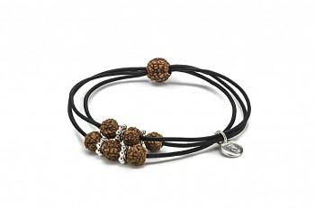 KANYA - Gumička malá černá, stříbro, semeno Rudraksha