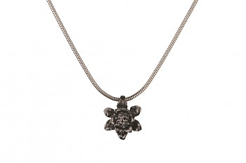 MANI PADMA - silver necklace with small lotus, black rhodium, chain 42 cm