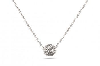 BHUSANA - Stříbrný náhrdelník, stříbrná Rudraksha